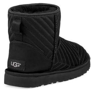 UGG classic mini quilted satin black boots 11 NIB